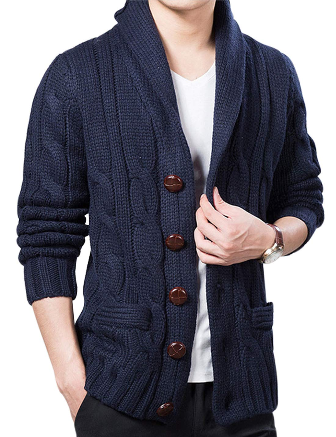 Lentta Mens Heavy Weight Shawl Collar Button Down Cable Knitted Cardigan Sweater (Medium, Dark Blue)