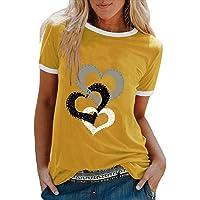 YANFANG Camiseta De Manga Corta Suelta con Cuello Redondo Y Estampado Informal A La Moda para Mujer, Blusa Superior…