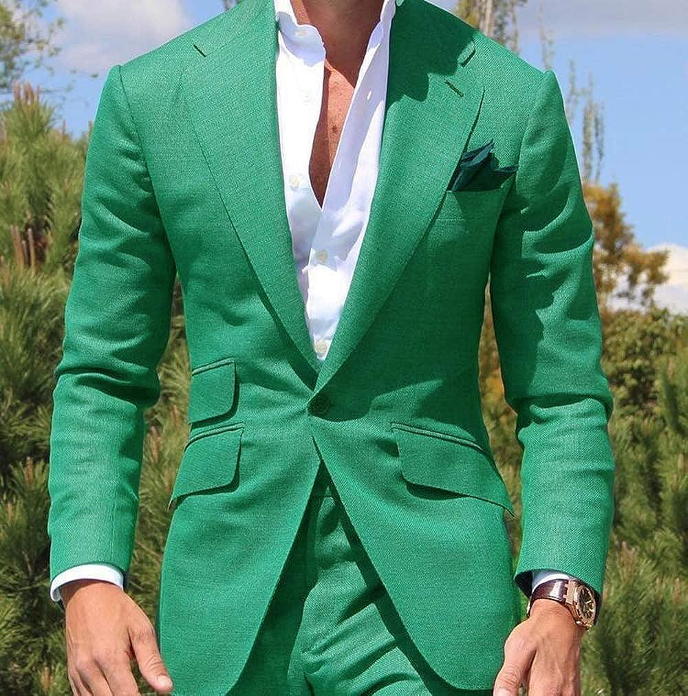 Blazer+Pants 2 Pieces Mens Suit Business Slim Fit Notch Lapel Solid Tuxedos for Wedding Groomsmen