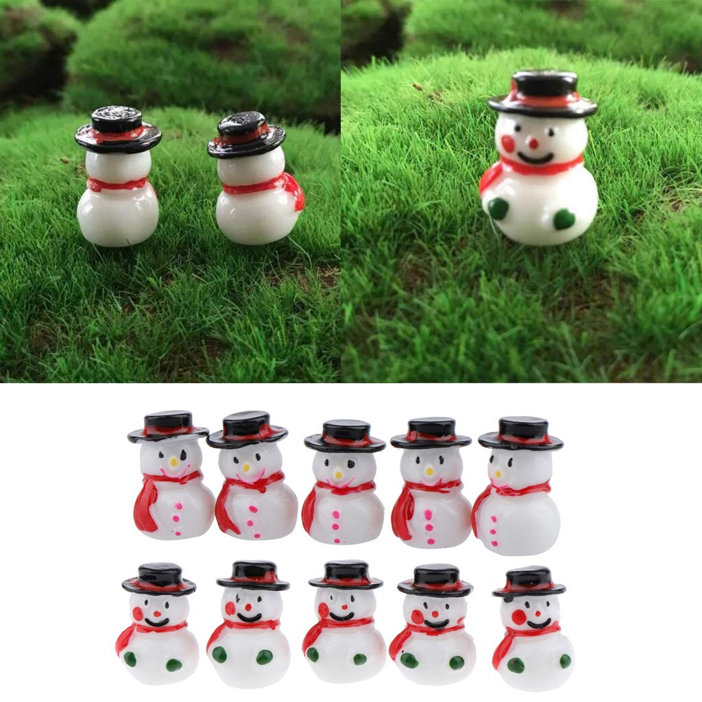 LOVIVER Mini Resin Cute Snowman Decorations for Christmas Home Table Green Gloves