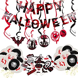 CrzPai Halloween Bloody Zombie Party Decorations Kit Scary Photo Booth Props Swirl Ceiling House Haunted Props Decor Favors Supplies