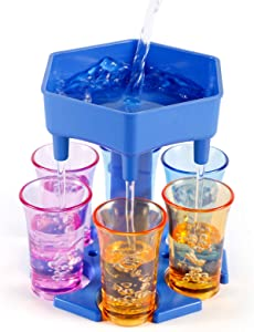 6 Shot Glass Dispenser, Drink Dispenser and Holder with Stoppers, Beverage Dispenser for Filling Liquids Cocktail Liquor Carrier Gifts Bar Shot Dispenser for Parties (Blue/not include glass)