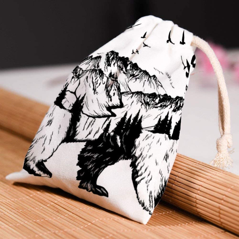 Pull Rope dust Proof Cover Bag Usting Pull Rope Receptacle Bag Handbag for small Articles Storage,Mountains on Bears Back