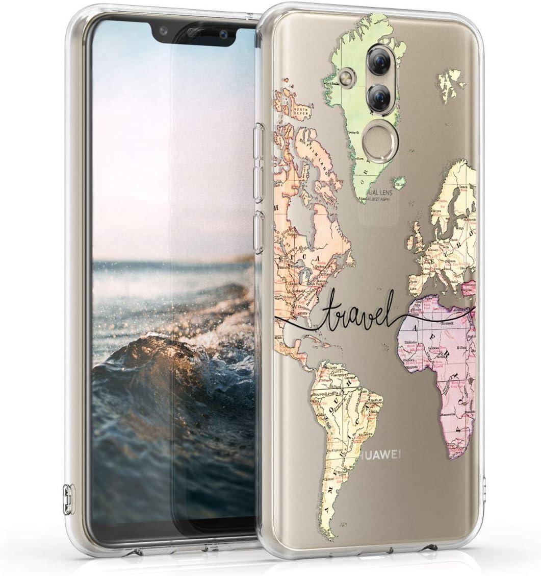 kwmobile Cover Compatibile con Huawei Mate 20 Lite - Custodia in Silicone TPU - Backcover Protettiva Cellulare Mappa del Mondo ...