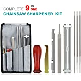 Chainsaw Sharpener Kit, Chainsaw Sharpener File Kit- 3/16, 5/32,7/32 Inch Round Files,File Guide, Depth Gauge, Flat File, Handle, Iron Hook , Tool Pouch, Combo 9 Pack with Sharpening Instructions