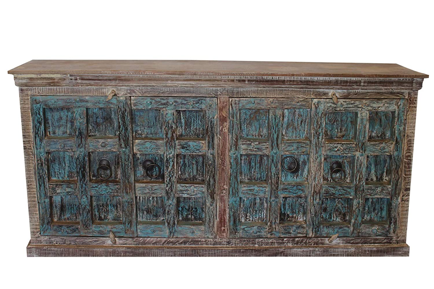 Amazon com mogul interior rustic buffet distressed blue sideboard antique console chest credenza media storage buffets sideboards