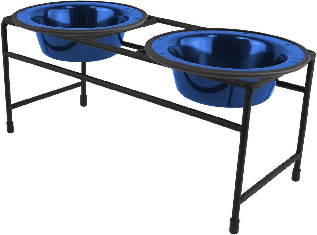 Platinum Pets Double Diner Feeder with Stainless Steel Cat Bowls, 6 oz, Blue
