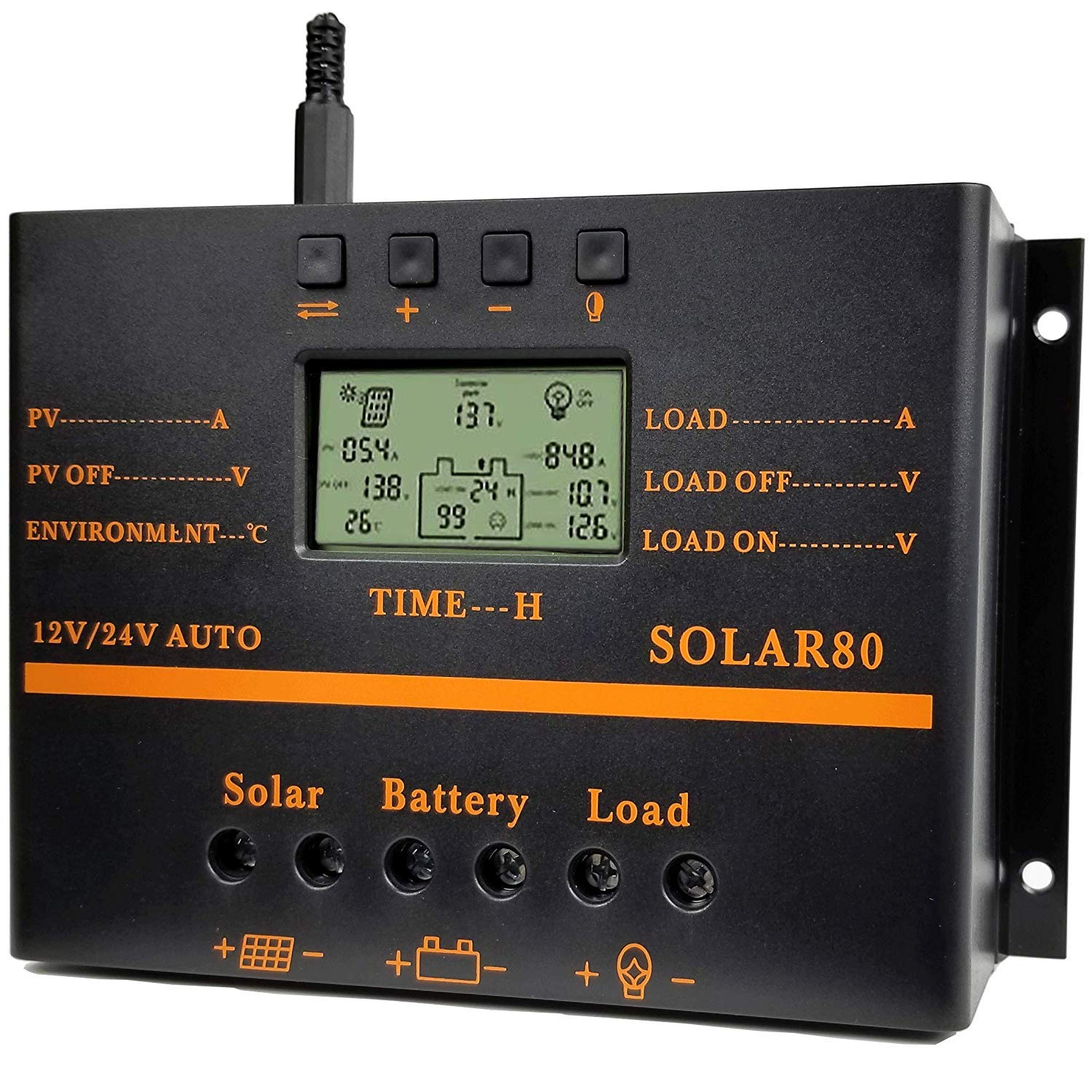 Y&H 80A Solar Charge Controller 12V 24V LCD Display USB Output Solar Panel Controller Multip Circuit Protection Solar Charger Discharge Regulator for Lighting System,with Dark Activated Function