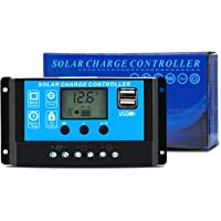 GCSOAR 20A Solar Charge Controller 12V 24V Auto Work PWM Solar Panel Regulator with LCD Display Dual USB Output Overload Protection Timer Setting