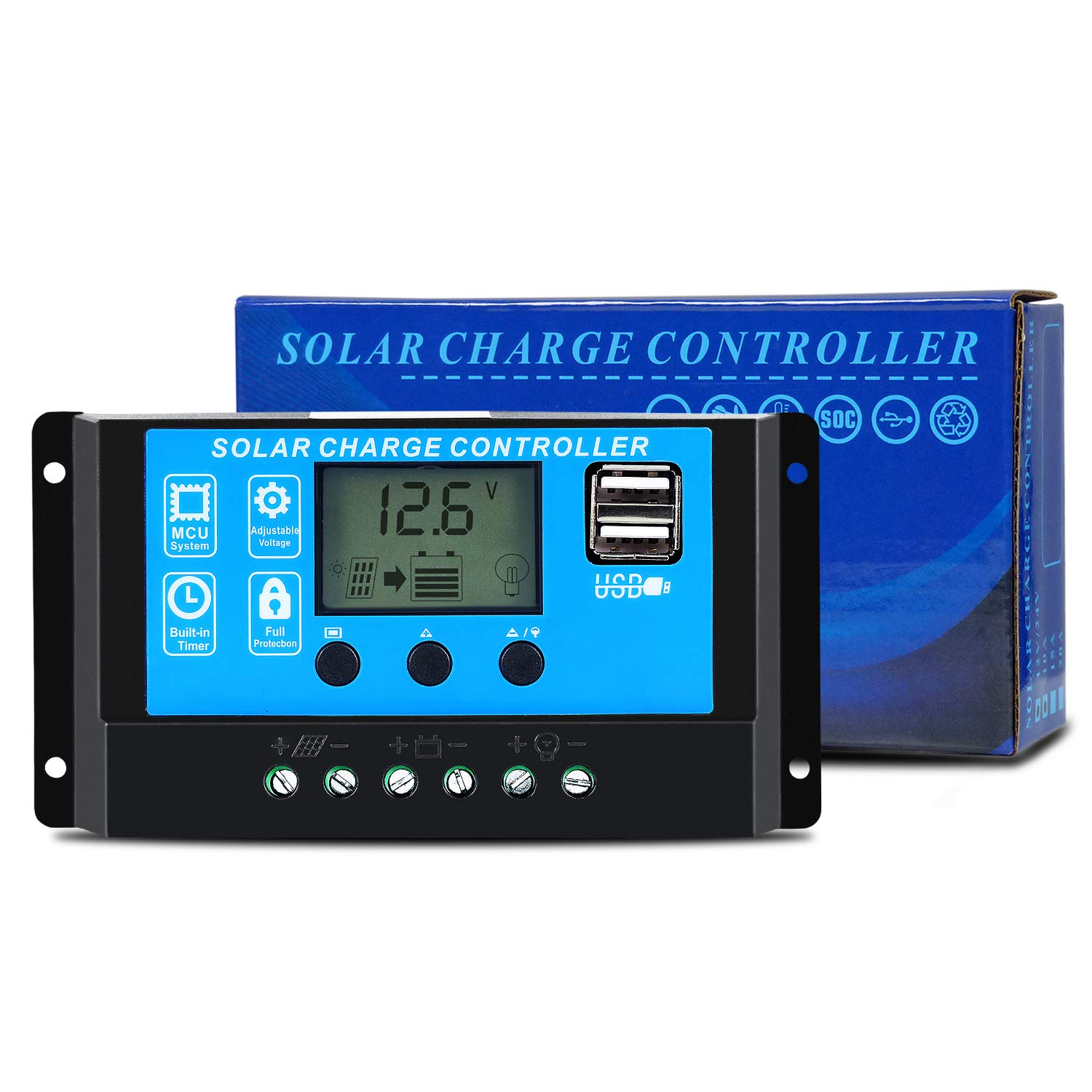 Ela PWM Solar Charge Controller 10A 12V 24V Auto Work Max PV Solar Panel Input 120W 240W Solar Regulator with Dual USB Ports LCD Display Overload Protection Timer Setting ON Off GC1024
