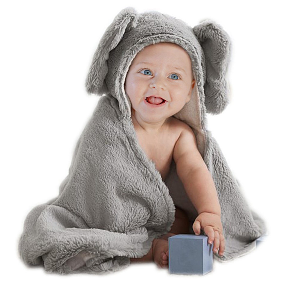 Elephant Grey Baby Hooded Plush Towel Cotton Baby Shower Gift for Toddle Infant Girls and Boys by Babyplix 001myldxt
