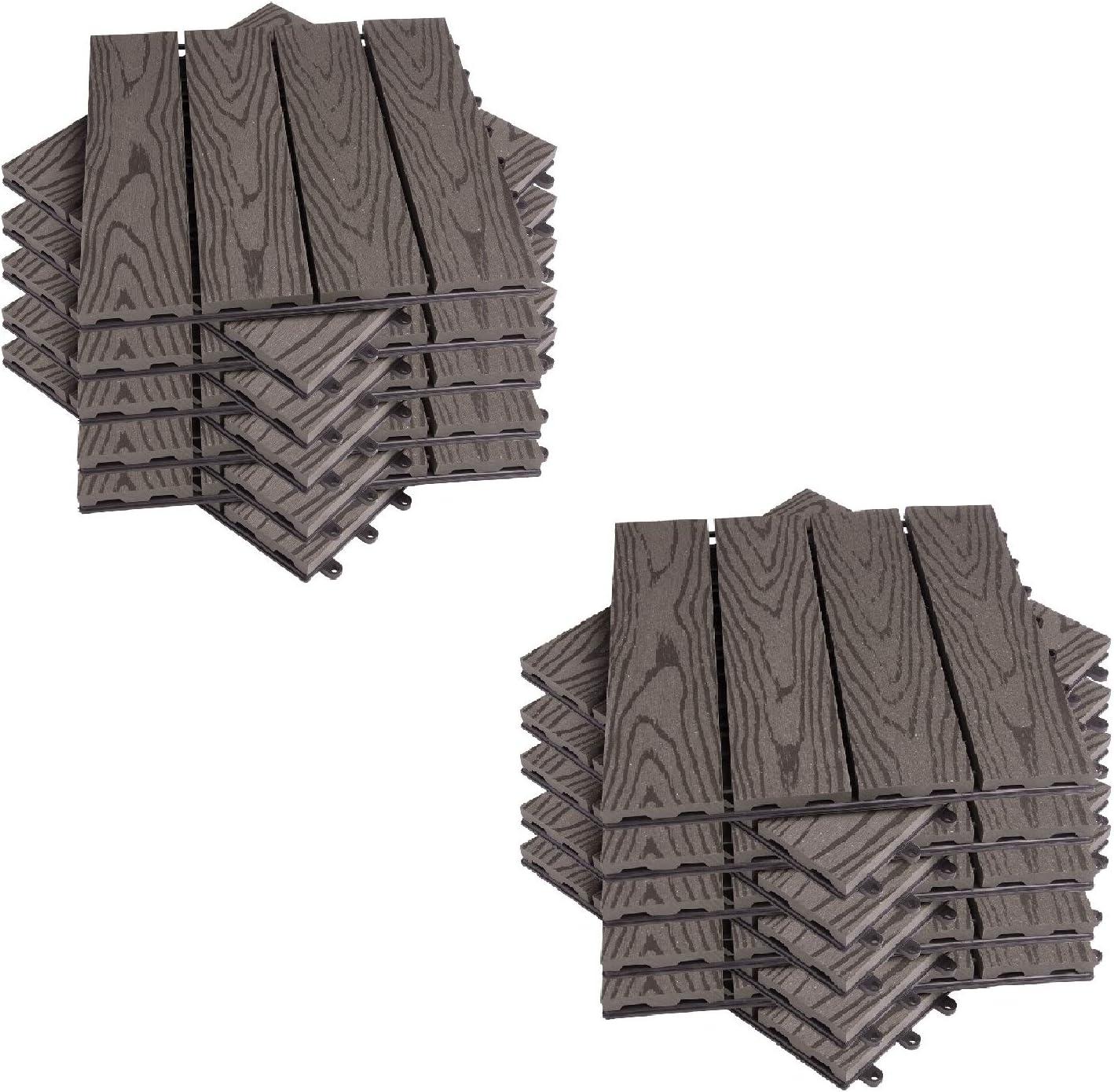 EUGAD 22x Suelo de Exterior WPC 30x30cm Terrazas del Piso 22 Set 2? Baldosas de Madera para Jardin, Terraza Café