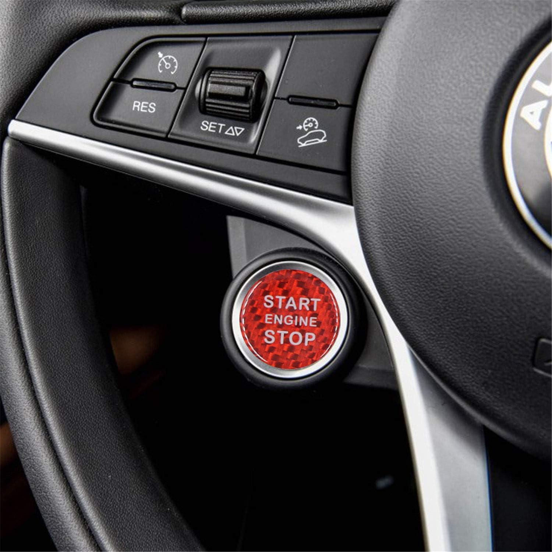 M.JVisun Red Ignition Starter Switch Sticker For Alfa Romeo Giulia Alfa Romeo Stelvio Start Stop Engine Button Cover Genuine Carbon Fiber Material