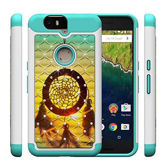 new style 18c5e dce8d Nexus 6P Case, Vfunn [Shock Absorption] Studded Rhinestone Bling Hybrid  Dual Layer Armor Slim Defender Protective Case Cover For Huawei Google  Nexus ...