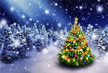 Snowy Christmas.Amazon Com Lfeey 9x6ft Decorated Christmas Tree Backdrop