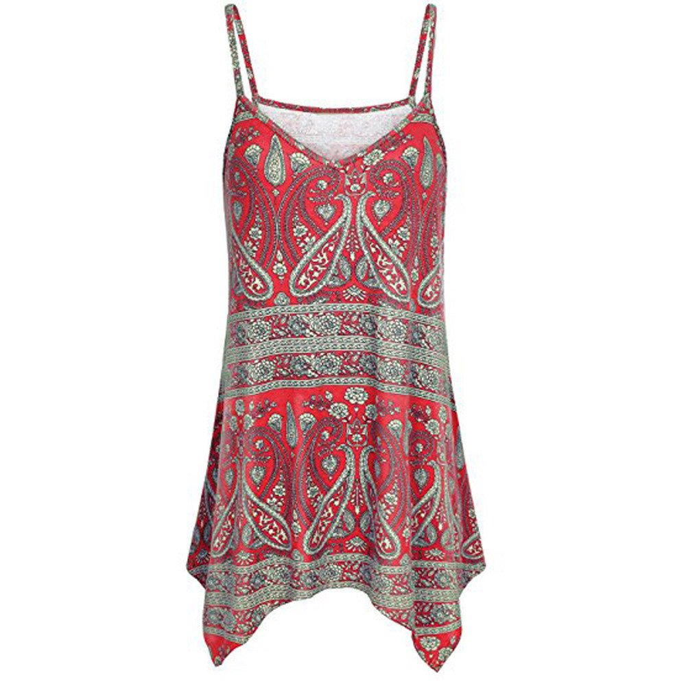 VANSOON Tank Tops for Women Handkerchief Hem Flowy Top Print Summer Spaghetti Strap Camisoles Red