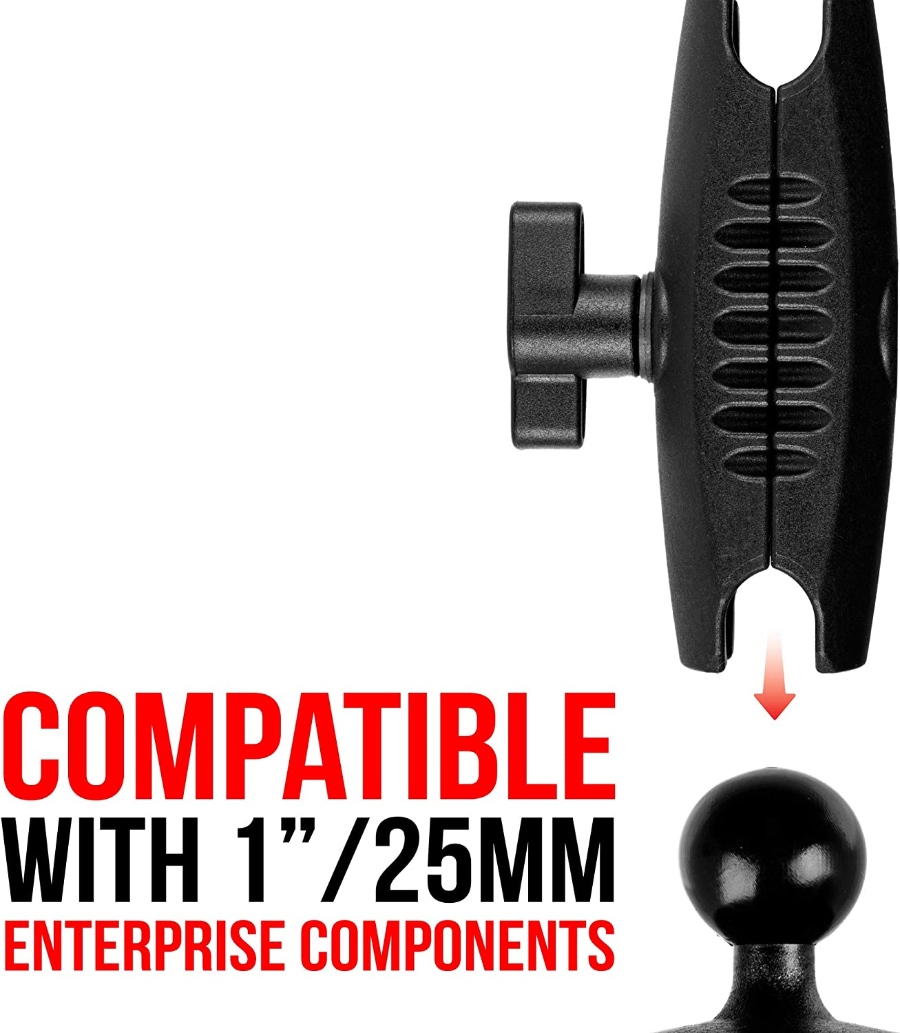 Tackform Enterprise Series. Compatible with RAM and 1 Ball Systems from Arkon Single Thumbscrew iBolt and More 3.75 Composite ABS Plastic Arm with Dual 1 Ball sockets