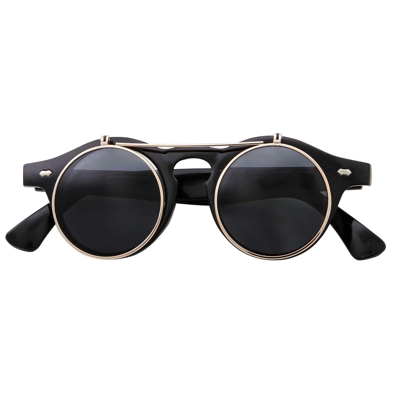 2fcfc47a81 Amazon.com  Flip Up Round Punk Sunglasses Steampunk Circle Retro (Black  Gold Frame