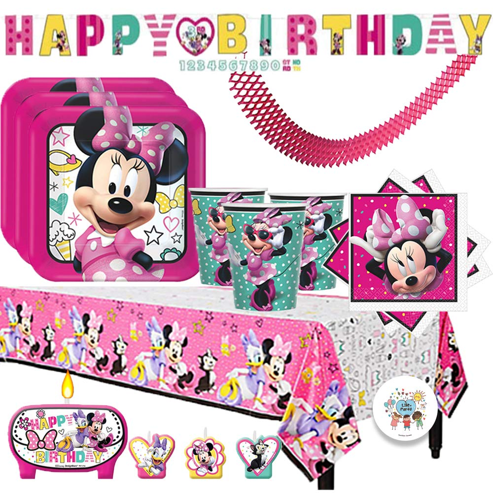 Minnie Mouse Happy Helper Birthday Party Supplies Pack For 16 Guests With Plates, Napkins, Tablecover, Cups, Candles, Add An Age Birthday Banner, and Exclusive Pin By Another Dream