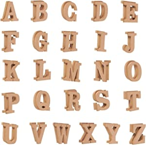 Wooden Letters - 52-Count Wood Alphabet Letters for DIY Craft, Home Decor, Natural Color