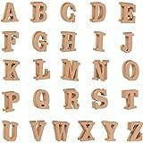 木制字母 - DIY 工艺品的木质字母和数字贴纸,家居装饰,自然色 棕色 52-Count ZECGY