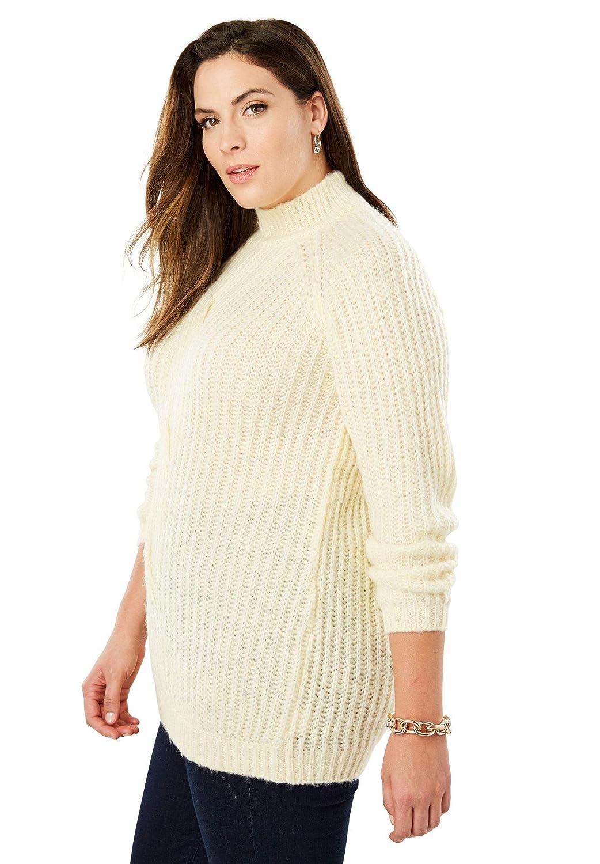 15e4f6f950e Jessica London Women s Plus Size Cable Twist Sweater - Ivory