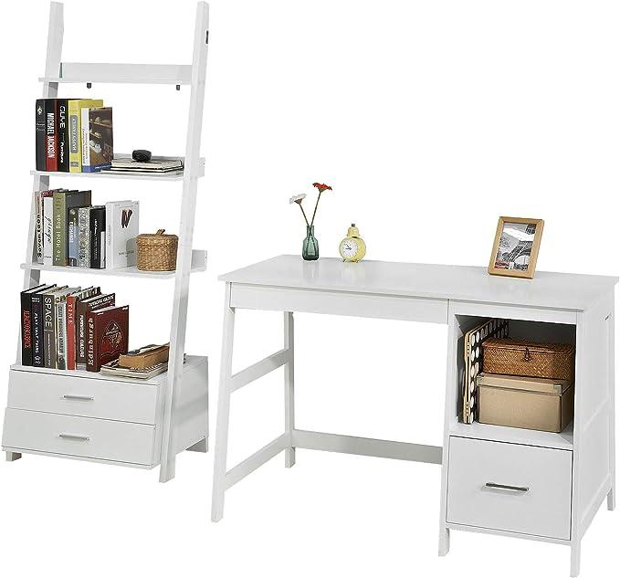 SoBuy Set de 1 Mesa de Escritorio y 1 estantería en Escalera,Blanco,FWT38-W+FRG230-W,ES (Mesa+Estantería): Amazon.es: Hogar