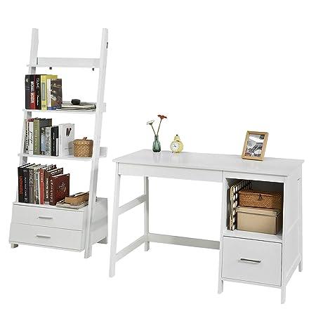 SoBuy Set de 1 Mesa de Escritorio y 1 estantería en Escalera ...