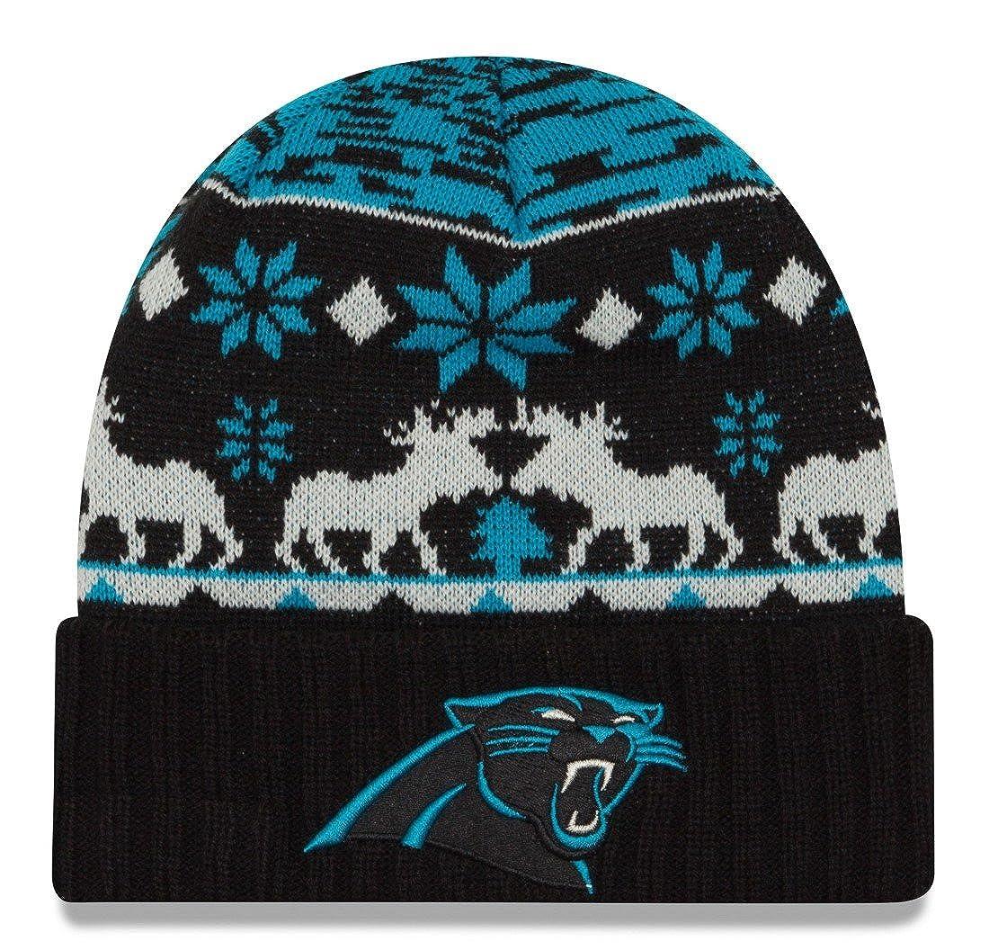 New Era Carolina PanthersメンズNFL Youthニットポンポン付き冬ビーニーブラック/ブルー80365454 One Size  B01B772WZ0