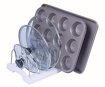 Félibeaco - Organizador ajustable para ollas y sartenes, utensilios de cocina y tablas de cortar