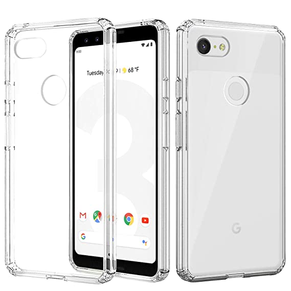half off 66c50 8209e MoKo Google Pixel 3 Case, Anti-Scratch Slim Hard PC Backplate Hybrid + TPU  Bumper Shock Aborsption Cellphone Shell Fit with Google Pixel 3 - Crystal  ...