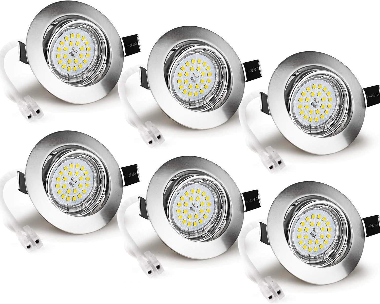 GU10 LED Einbaustrahler 6x 5W GU10 Spots 4000K Neutralwei/ß 550lm ersetzt 50W Einbaulampe Deckenstrahler f Wenscha 6er set Einbauleuchte 230V Schwenkbar Einbauspot Deckenspot inkl Loch /Ø70-75m