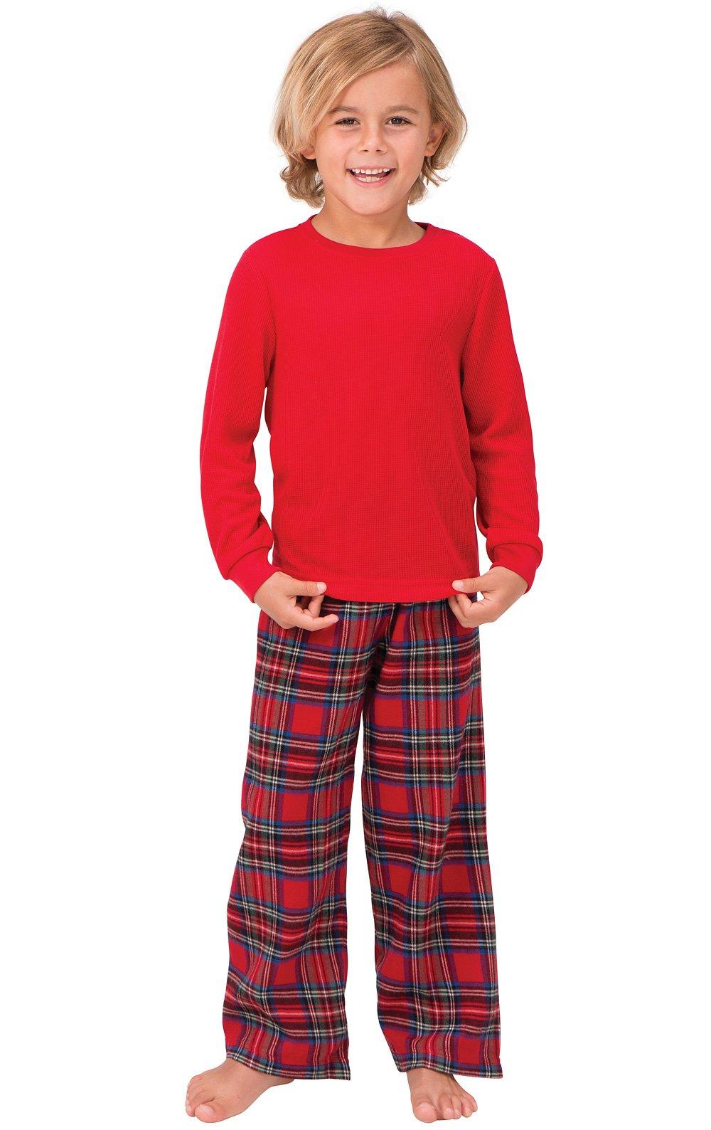 PajamaGram Red Flannel Stewart Plaid Pajamas with Thermal Top, Red, Big Boys' 14