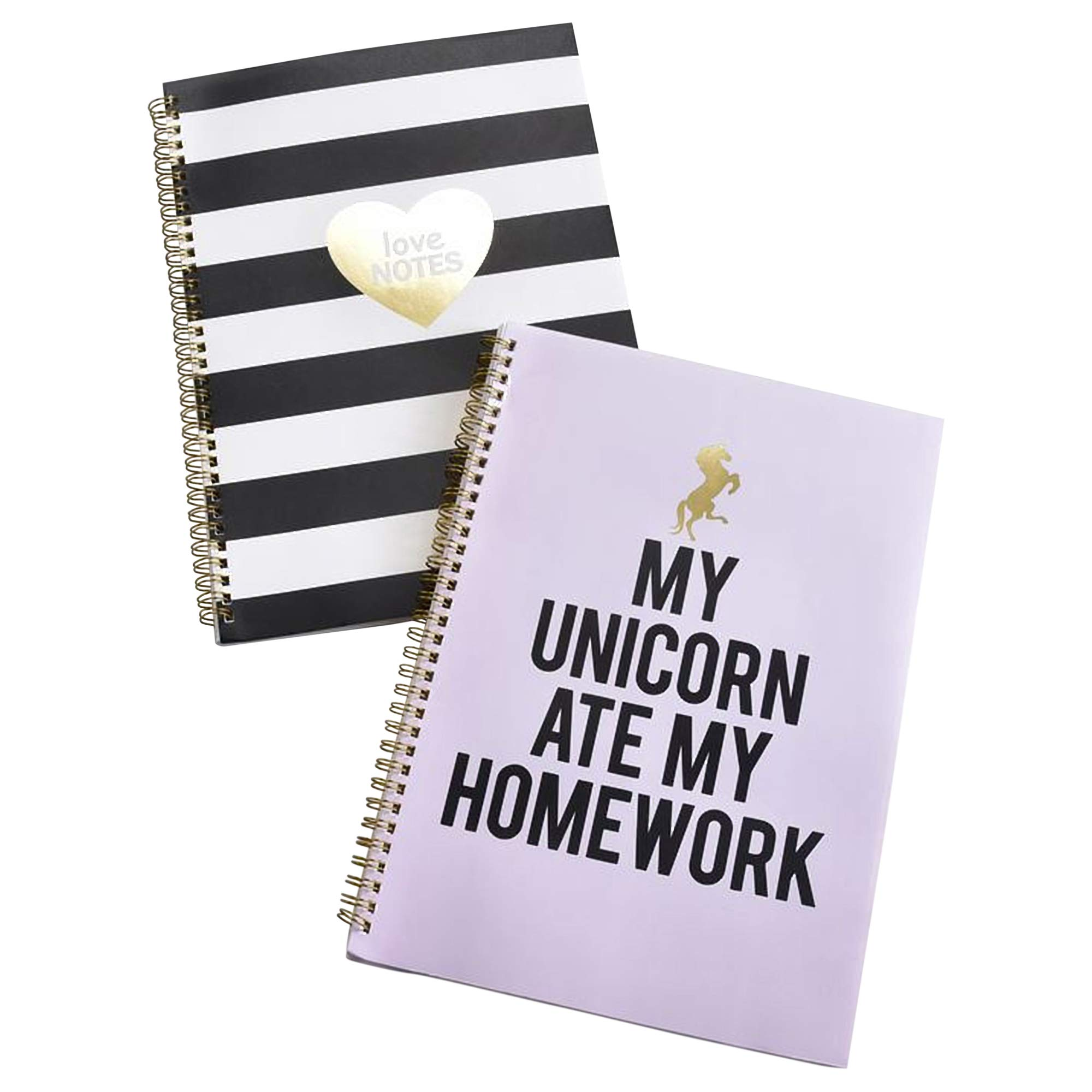 Unicorn Ate Homework 9 x 12 inch Wide Rule Spiral Bound Notebooks Assorted Set of 2