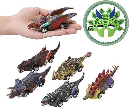 1//6Pcs Dinosaur Cars Pull Back Vehicle Set Mini Animal Car Boys Toys