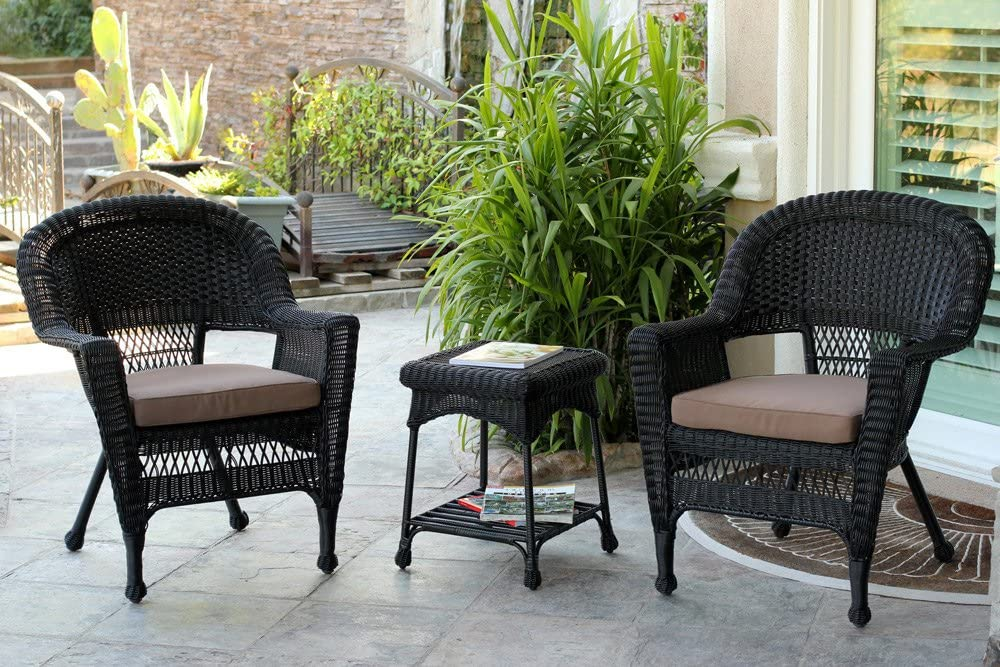 Jeco 3 Piece Wicker Chair and End Table Set with Brown Cushion, Black