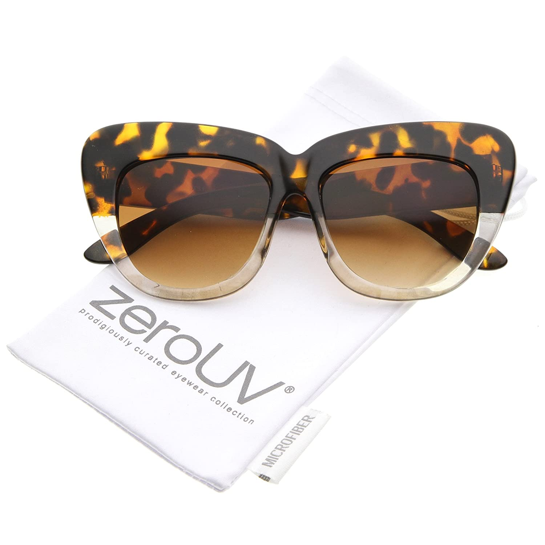 a5ef421219f8 Amazon.com  Oversize Printed Frame Wide Temple Square Lens Cat Eye  Sunglasses 55mm (Black-Tortoise-Fade Lavender)  Clothing
