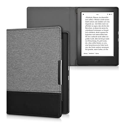 kwmobile Case for Kobo Aura H2O Edition 1 - PU Leather and Canvas  Protective e-Reader Cover Folio Case - Dark Grey/Black