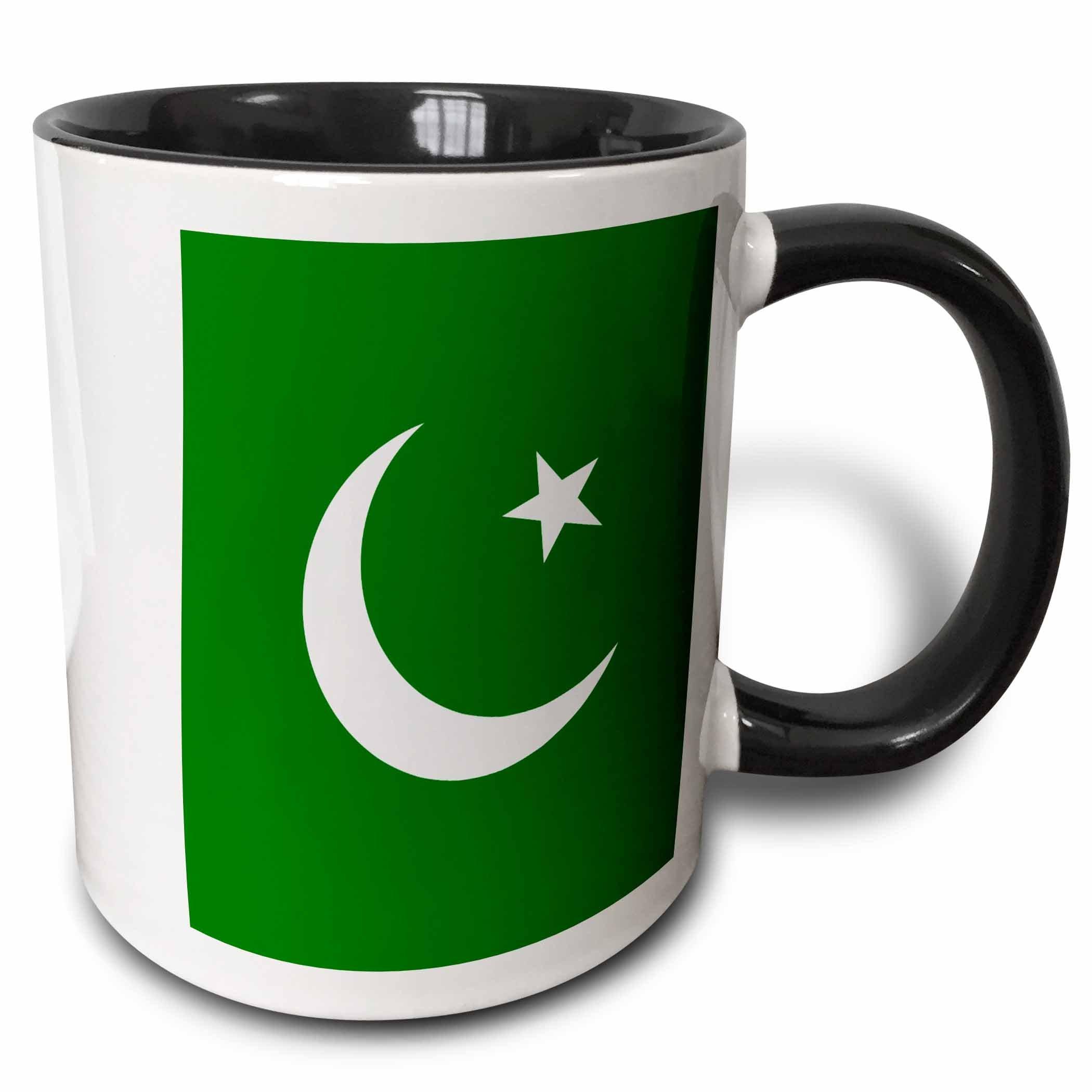 3dRose (mug_158405_4) Flag of Pakistan - Pakistani dark green with white crescent moon and star Islamic country Asia world - Two Tone Black Mug, 11oz