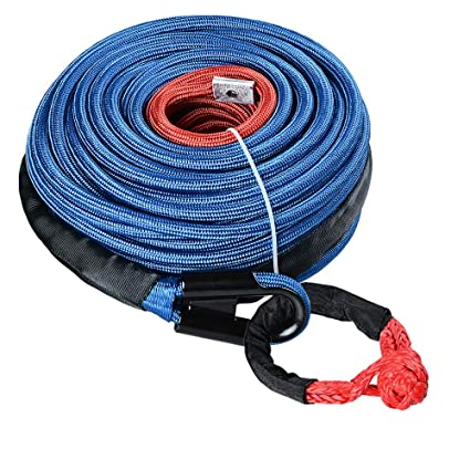 "95/' x 3//8/"" Synthetic Winch Rope Cable 22000 LBs w// All Rock Guard Cover Blue 4W"