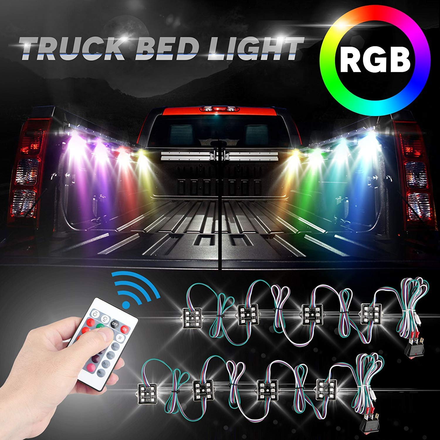 LED Truck Bed Lights Linkstyle 2Pcs LED Rock Lights, 48 LEDs RGB Truck Bed Cargo Lights with Remote Control, On/Off Switch & IP67 Waterproof for Pickup Truck, RV, SUV, Boats, Unloading Cargo Area