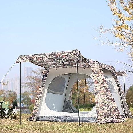 ZCY Tienda de campaña Familiar con pérgola para 5 a 8 Personas, para Acampada al Aire Libre, Tienda de campaña a Prueba de Lluvia, Parasol UV Cabana Playa Plegable: Amazon.es: Deportes y