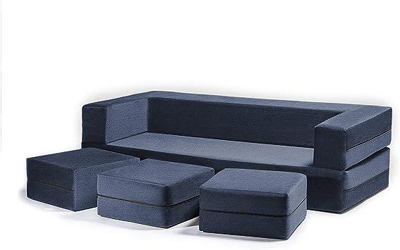 Amazon Com Jaxx Zipline Convertible Sleeper Sofa Three Ottomans California King Size Bed Marine Furniture Decor