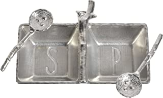 product image for Crosby & Taylor Pewter Salt & Pepper Tray with Twig Bird's Nest Spoons
