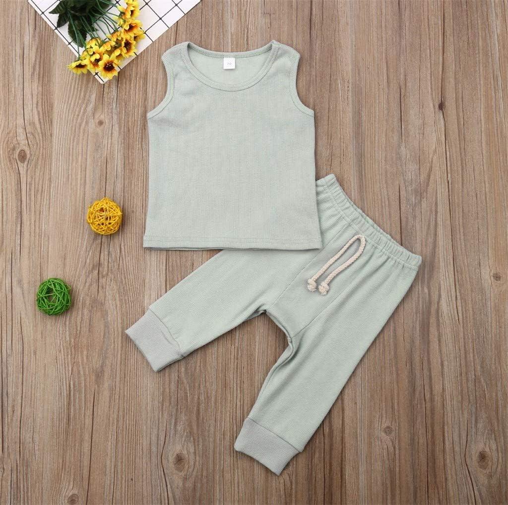 Gilet de Couleur Pure de T-Shirt de Tops de Pantalon de Gar/çons de Filles de B/éb/é Tenues 0-24 Mois wuayi  V/êtements de b/éb/é Unisexe