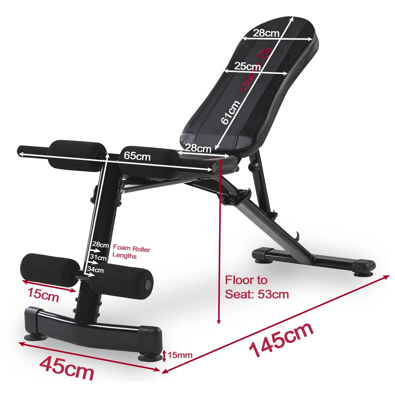 Marcy Eclipse UB3000 - Banco ajustable (135 kg), color negro/rojo: Amazon.es: Deportes y aire libre