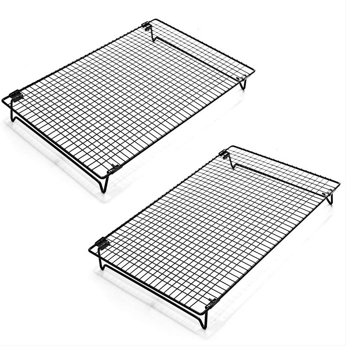 Kingrol 2-Piece Stackable Cooling Rack with Collapsible Folding Legs - for Cooking, Roasting, Drying, Grilling (Black)
