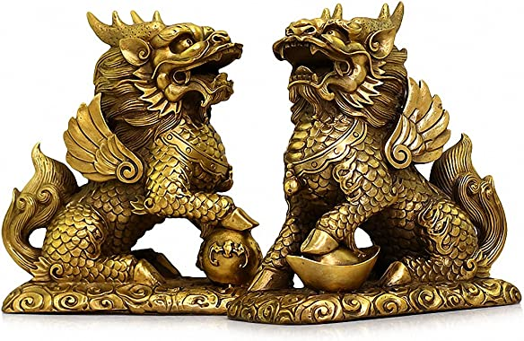 Feng Shui Set of Two Golden Brass Chi Lin Kylin Wealth Prosperity Statue , Chinese Charm of Prosperity Home Decoration Gift Attract Wealth and Good Luck,Feng Shui Decor 5.7 L x 3.4 W x 6.5 H
