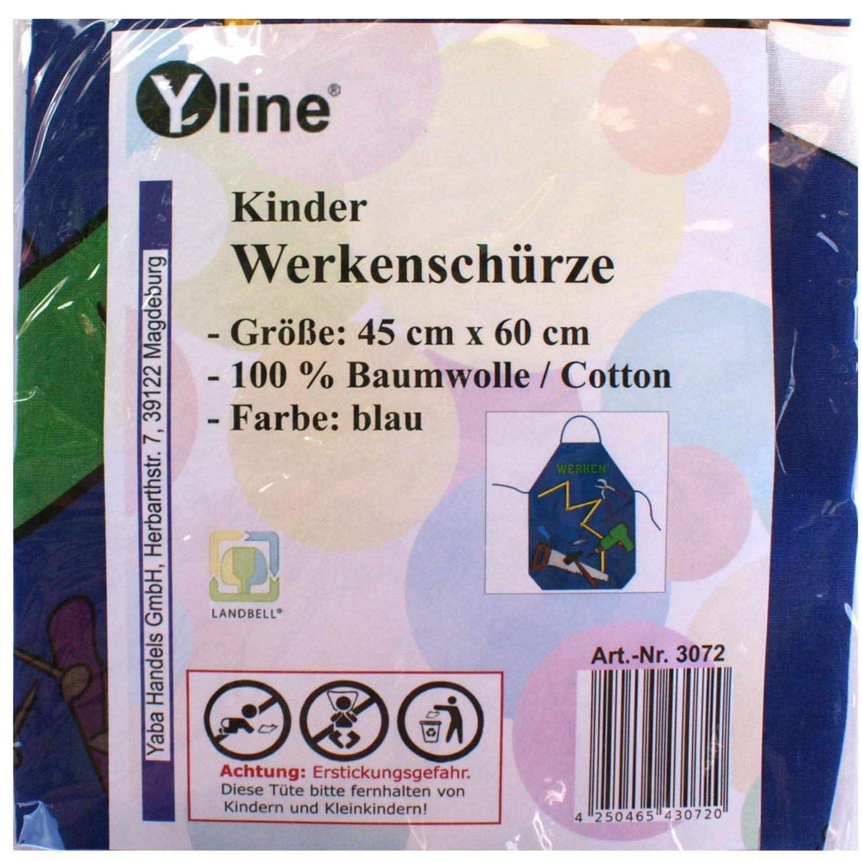Yline 1 Stück Kinderschürze blau Werken, Kinder Bastelschürze Werkschürze Gartenschürze, Schürze, 3072 Schürze