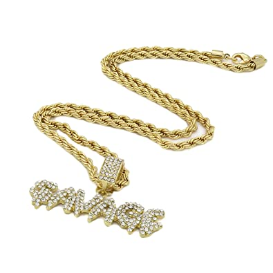 affef0d691bf6 Jewel Town Men's 14k Gold Plated Savage Drip Letter Pendant 24
